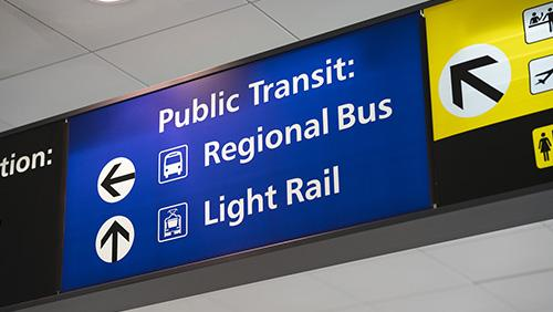 Airport sign for public transportation